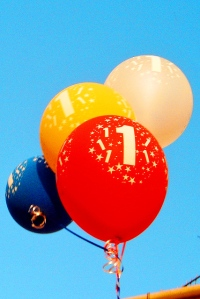 First Birthday Balloons by akadruid via Flickr
