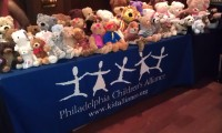 Gala goers donate teddy bears.