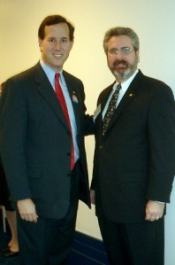 Sen. Rick Santorum (R-PA) with Michael J. Rosen at CARE Act rally.