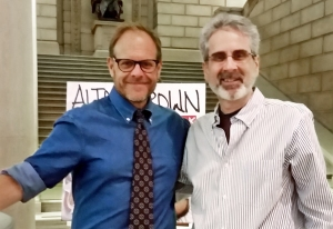 Alton Brown and Michael Rosen at the Free Library of Philadelphia.