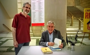 Michael Rosen and Carl Hiaasen at the Free Library of Philadelphia.